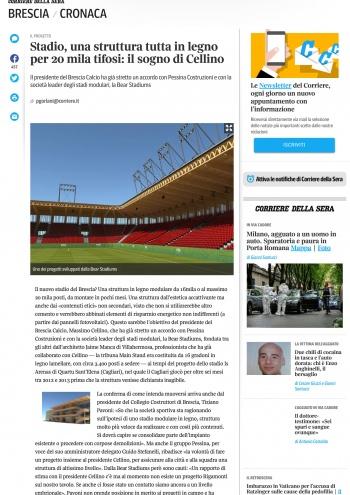 Brescia Corriere it notizie cronaca 19 febbraio 12 stadio struttura tutta legno 20 mila tifosi sogno cellino